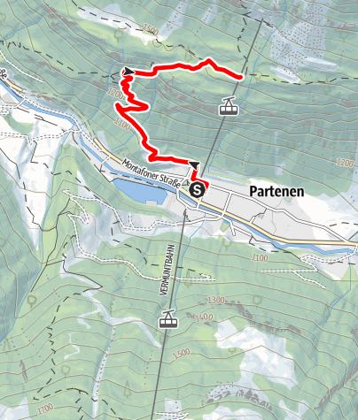 Map / Tafamunt - Montafoner Berglauf - von der Talstation zur Bergstation (Alpstöbli 1.550m)