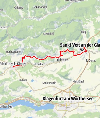 """Karte / """"Wasser Tour"""" Trekkingrad-Variante St. Veit - Feldkirchen"""