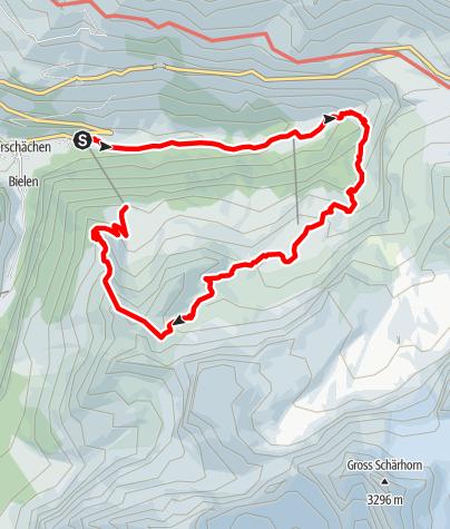 Karte / Bergwanderung von Unterschächen zum Wäspen-Seeli
