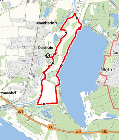 Karte / Wanderung mit Hund: Knauthain - Elsterstausee - Cospudener See