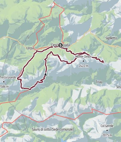 Cartina / Cima Sappada, Passo Elbel, Rifugio De Gasperi, Passo Siera, Rifugio Siera, Passo Geu Alto, Malga Tuglia, Rifugio Chiampizzulon, Malga Tuglia, Cima Sappada