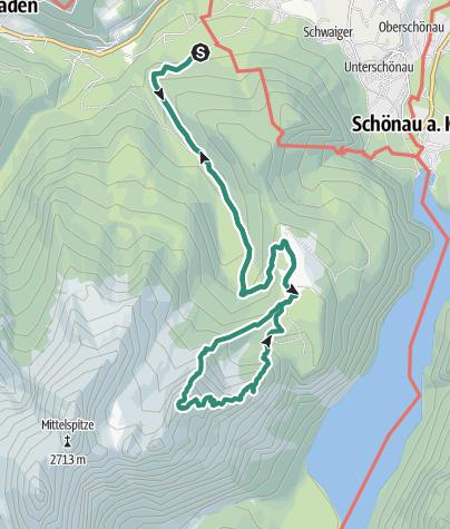 Karte / Kleiner Watzmann, Aufstieg NO-Grat, Abstieg über Mooslahnerkopf