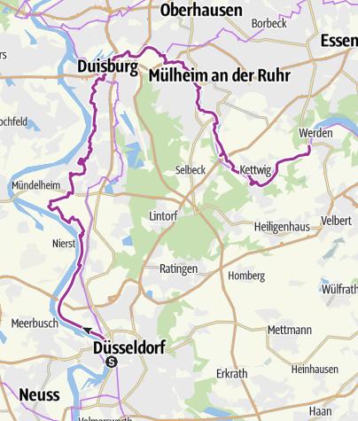 Karte / Radtour Düsseldorf - Duisburg - Essen-Werden
