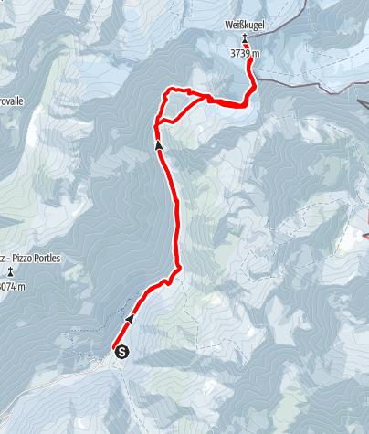 Kaart / Weißkugel (3738m)  vom Matschertal
