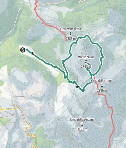 Cartina / Escursione ad anello del Monte Mulaz dalla Val Venegia