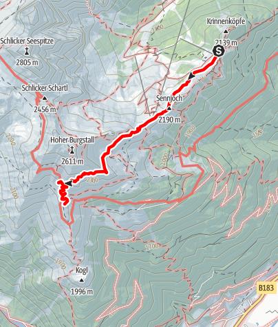 Karte / Bergstation Schlick 2000 - Starkenburger Hütte