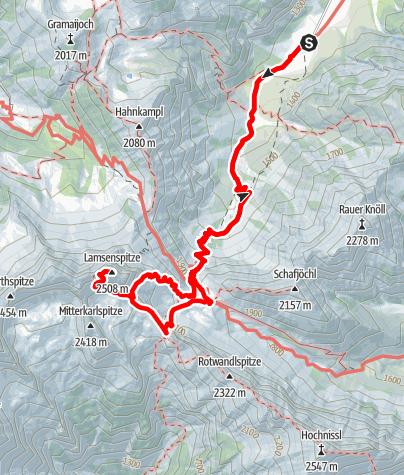 Kaart / Lamsenspitze über Lamsenjochhütte