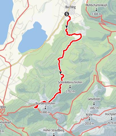 Kaart / Buchenberg Talstation bis Tegelberg Bergstation. Zurück mit Gleitschirm
