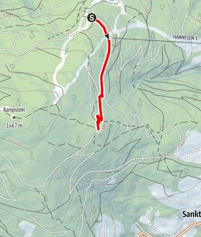 Mapa / 20 Hergottschnitzerhütte Route bergauf