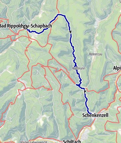Karte / Der kleine Hansjakob Weg, Etappe 1;  Schapbach - Schenkenzell