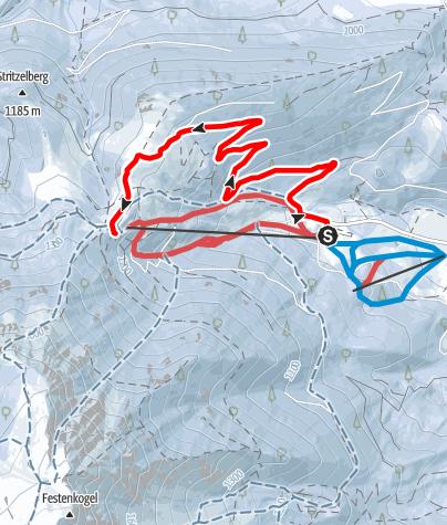 Map / Schneeschuhwandern auf den Faden am Schneeberg