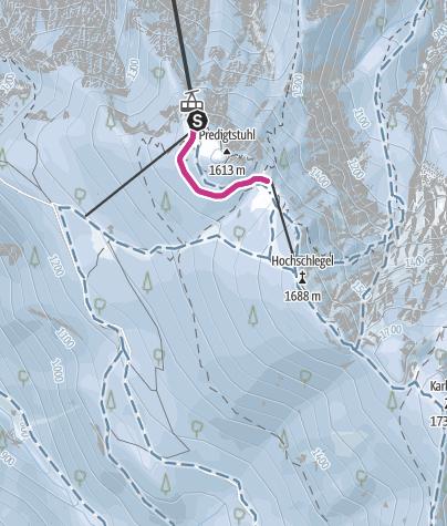 Karte / Alter Höhenkurweg von der Bergstation zur Schlegelmulde