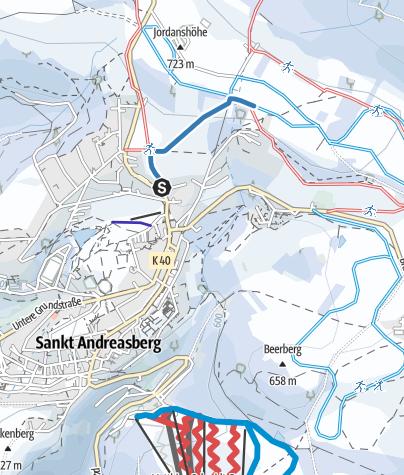Karte / Verbindung Jordanshöhe - St. Andreasberg