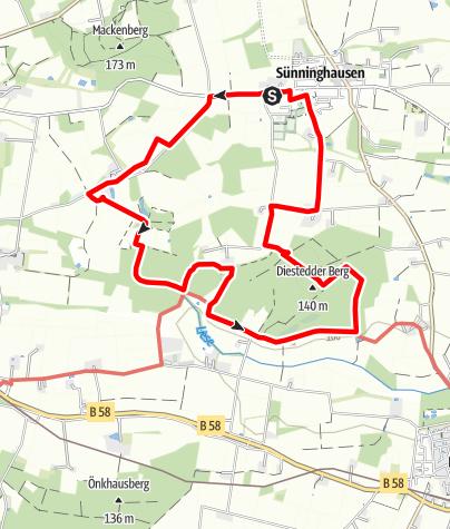Karte / B+H-2019-01-31: V1-von Sünninghausen zum Diestedder Berg
