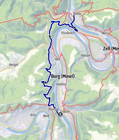 Karte / Auf Moselhöhenweg und Moselsteig von Kövenig nach Bullay
