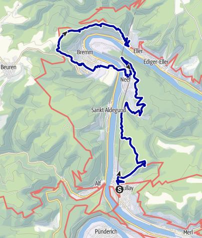Karte / Moselsteig: Von Bullay nach Eller