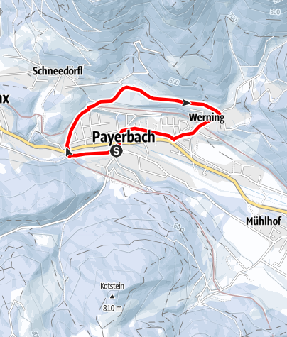 """Mapa / Slnečná promenáda v Payerbachu a turistický chodník """"Tut Gut-Winterrundwanderweg"""""""