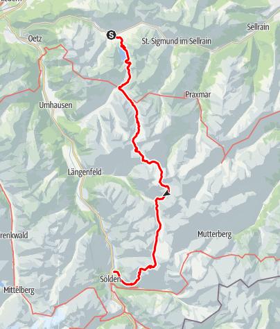 Kaart / van Oetz naar Solden lichte alpine tocht