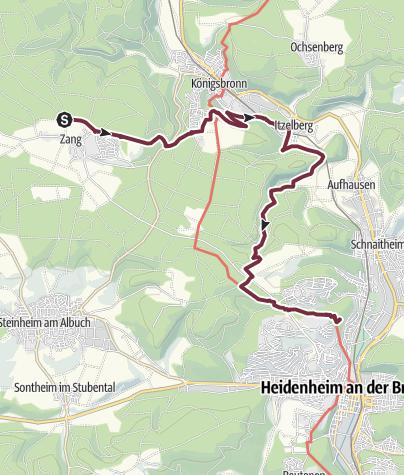 Karte / Albschäferweg - 6. Etappe: Zang bis Heidenheim