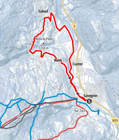 Kaart / Savognin - Cunter - Salouf - Riom - Savognin