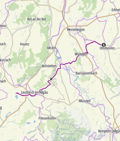 Karte / 1 Etappe  Ottobeuren - RoBa Camping