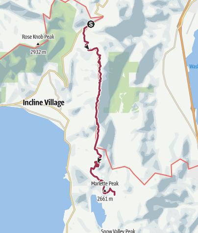 Map / Tahoe Rim Trail Mt. Rose Summit to Marlette Lake Road