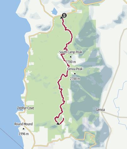Map / Tahoe Rim Trail Spooner Summit to Kingsbury Grade