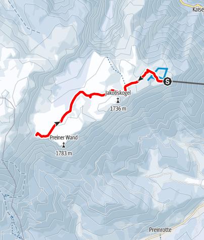 Mapa / Pěší túra po náhorní rovině na Raxu