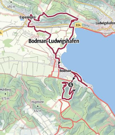 Karte / Burgen im Hegau W11 Über den Spittelsberg von Bodman nach Espasingen