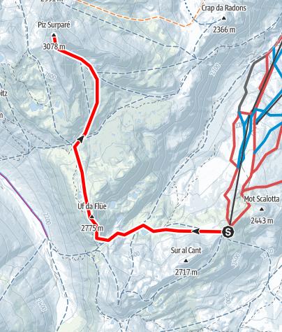 Karte / Piz Surparé 3078 m ü.M.