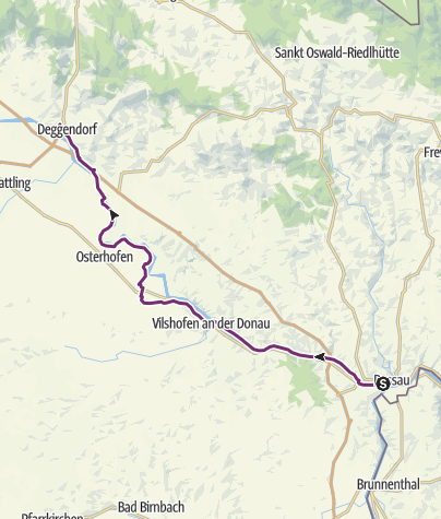 Karte / Schleifenroute DE Passau - Deggendorf Etappe 101