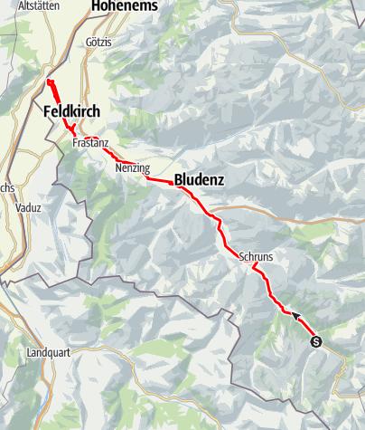 Kaart / Ill-Tour - vom Ursprung zur Mündung