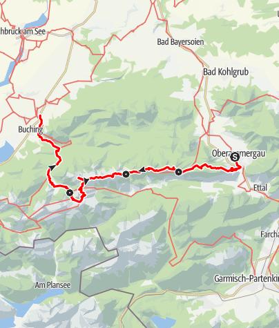 Karte / Hüttenwanderung (3 Übernachtungen) - Ammergauer Höhenweg
