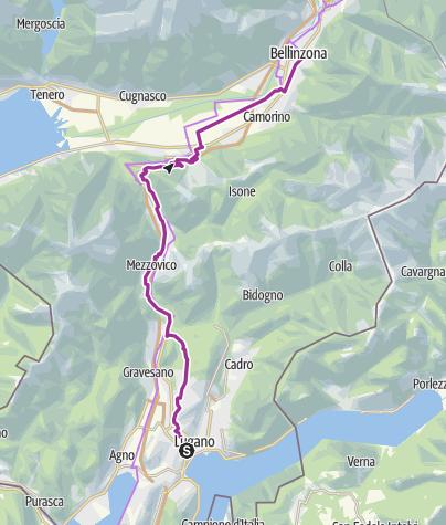 Karte / Schleifenroute CH / Lugano - Bellinzona / Etappe 1