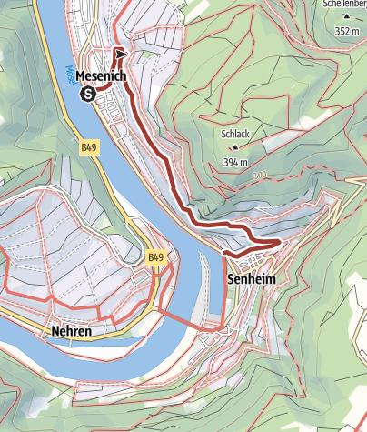 Karte / Kulturweg Mesenicher Steinreichskäpp in Mesenich/Mosel