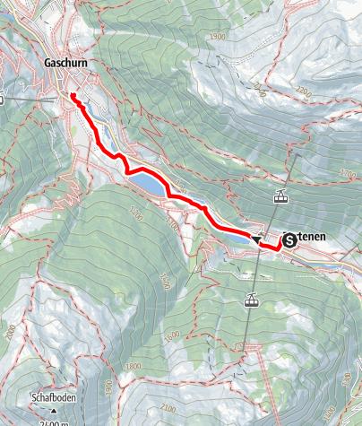 Karte / energie.wege - Route 1: Partenen - Vermuntwerk - Rifa - Ausgleichsbecken Rifa