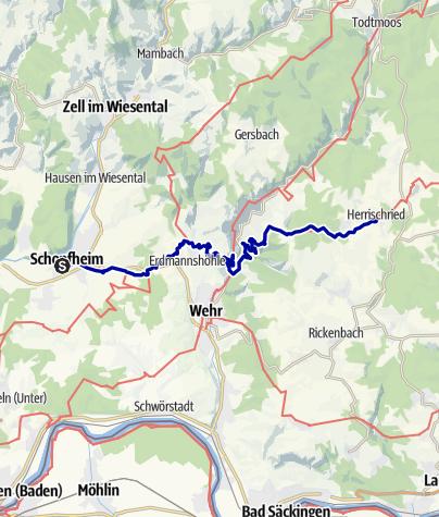 Karte / Hotzenwald Querweg Etappe 1 Schopfheim - Herrischried
