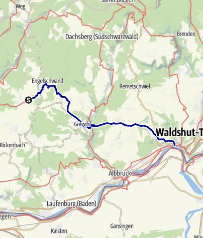 Karte / Hotzenwald Querweg Etappe 2  Herrischried - Waldshut