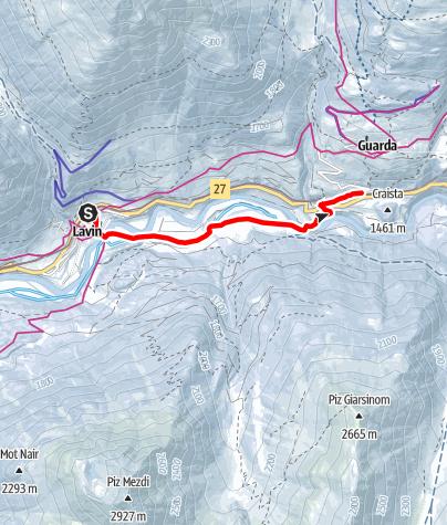 Karte / Lavin - Giarsun - Guarda Bahnhof