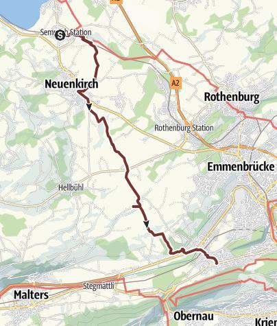 Karte / Mittwochspilgern 2020 Sempach-Station - Luzern