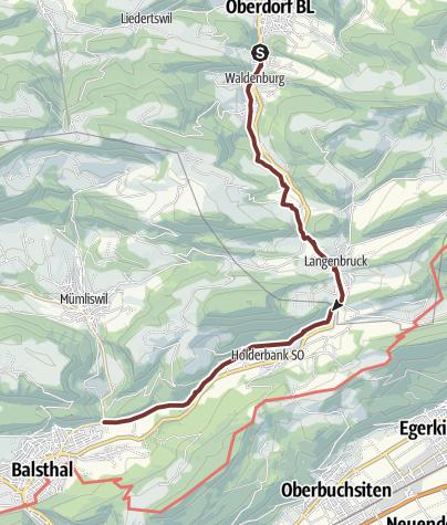 Karte / Auffahrtspilgern 21. Mai 2020 Waldenburg - Balsthal