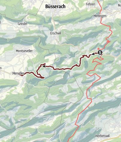 Karte / Auffahrtspilgern Freitag, 22. Mai 2020 Beinwil - Mervelier