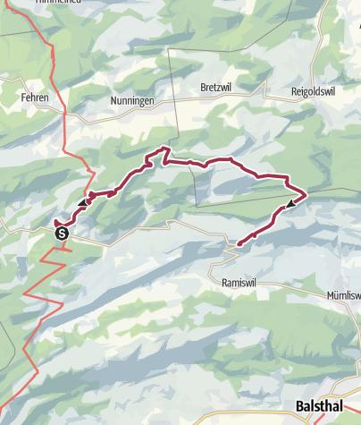 Karte / Auffahrtspilgern Samstag 23. Mai 2020  Beinwil Kloster - Passwang