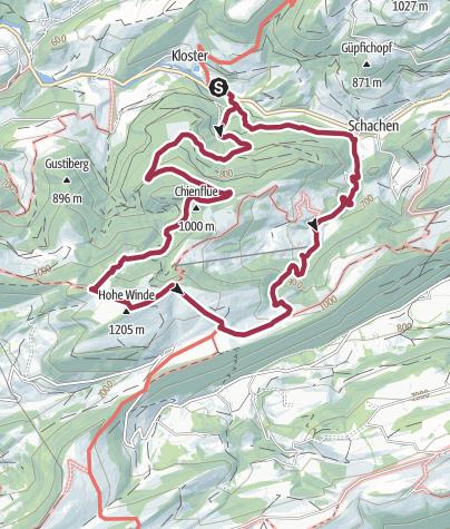 Karte / Auffahrtspilgern Sonntag, 24. Mai 2020 auf die Hohe Winde