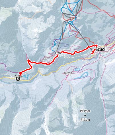 Karte / Via Engiadina Winter, Etappe 2 Ardez – Ftan – Scuol