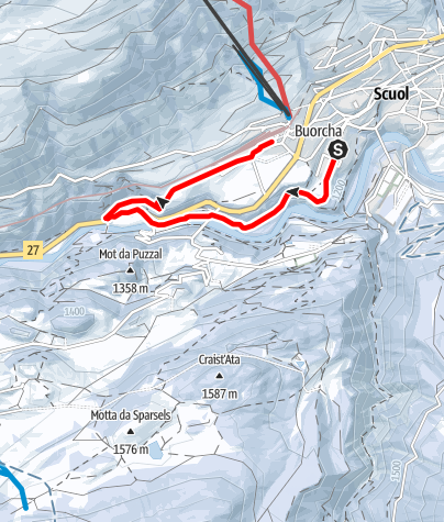 Karte / Scuol - Brentsch - Nairs - Cutüraplana (RW)