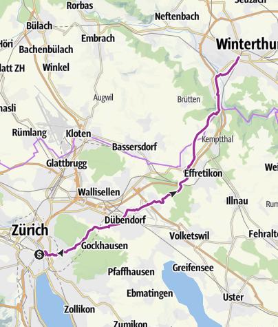 Karte / Schleifenroute CH / Zürich - Winterthur / Etappe 23