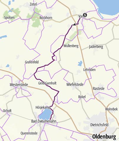 Karte / Schleifenroute DE Varel - Bad Zwischenahn Etappe 74
