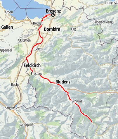 Karte / Mit dem E-Bike vom Bodensee zur Silvretta