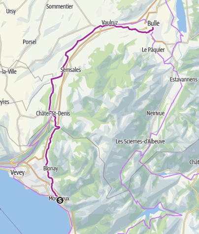 Karte / Schleifenroute CH / Montreux - Bulle / Etappe 12